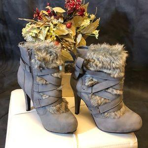 Fashion Nova Gray Furry ancle boots  size 8